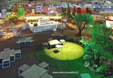 Réalisation d'un jardin de 300m² avec terrains de pétanque, massifs et arbres pour une soirée d'entreprise. Agence LMB. Gali M événementiel Toulouse